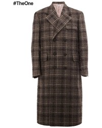 Abrigo largo a cuadros en marrón oscuro