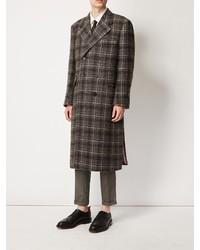 Abrigo largo a cuadros en marrón oscuro de Thom Browne