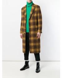 Abrigo largo a cuadros en marrón oscuro de AMI Alexandre Mattiussi