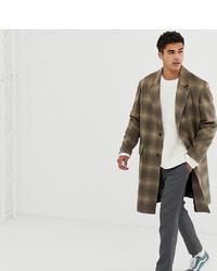 Abrigo largo a cuadros marrón de Noak