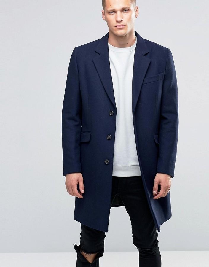 Abrigo largo azul marino de Asos