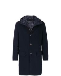Abrigo largo azul marino de Moncler