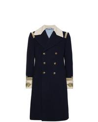 Abrigo largo bordado azul marino de Gucci
