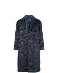 Abrigo largo con print de flores azul marino