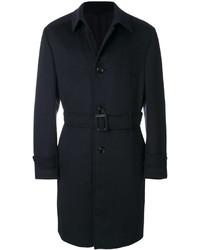 Abrigo largo de cuero azul marino de Ermenegildo Zegna