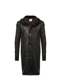 Abrigo largo de cuero negro de Guidi