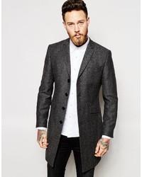 Abrigo largo de espiguilla en gris oscuro