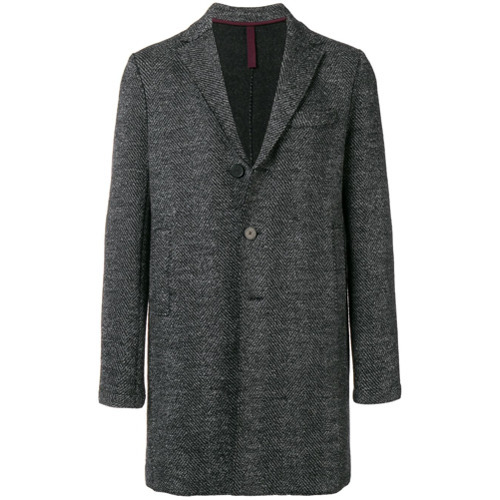Abrigo largo de espiguilla en gris oscuro de Harris Wharf London
