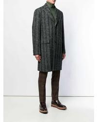 Abrigo largo de espiguilla en gris oscuro de Etro