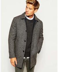 Abrigo largo de espiguilla en gris oscuro de Selected
