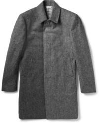 Abrigo largo de espiguilla en gris oscuro de Thom Browne