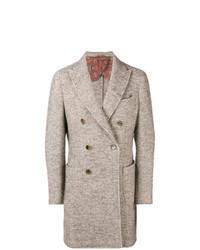 Abrigo largo de espiguilla marrón claro