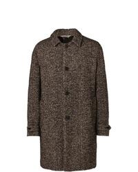 Abrigo largo de espiguilla marrón de Aspesi