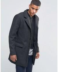 Abrigo largo de espiguilla negro