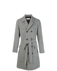 Abrigo largo de pata de gallo en negro y blanco de Maison Flaneur
