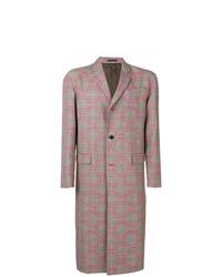 Abrigo largo de pata de gallo rosado de Valentino