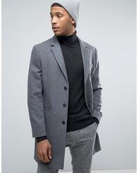Abrigo largo de rayas verticales en gris oscuro