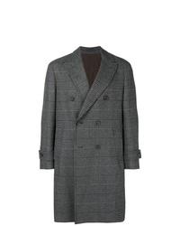Abrigo largo de tartán en gris oscuro de Dell'oglio