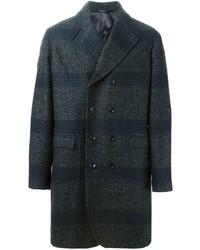 Abrigo largo de tartán en gris oscuro de Tonello