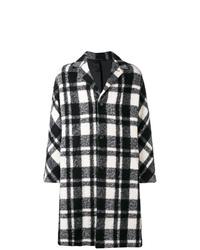 Abrigo largo de tartán en negro y blanco