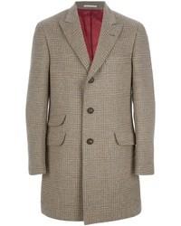 Abrigo largo de tartán gris de Brunello Cucinelli