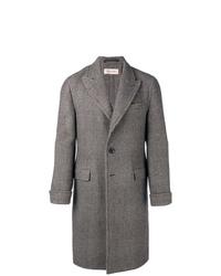 Abrigo largo de tartán gris de Caruso