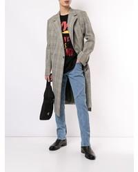 Abrigo largo de tartán gris de Wooyoungmi