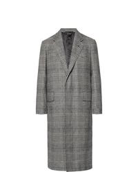 Abrigo largo de tartán gris de Dunhill