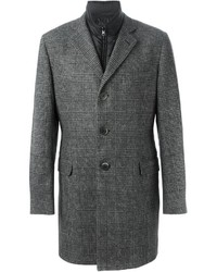 Abrigo largo de tartán gris de Fay