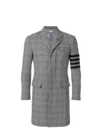 Abrigo largo de tartán gris de Thom Browne