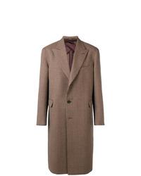 Abrigo largo de tartán marrón de Alexander McQueen