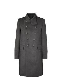 Abrigo largo en gris oscuro de Balmain