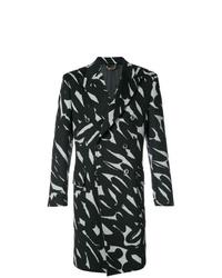 Abrigo largo en negro y blanco de Versace