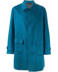 Abrigo largo en verde azulado de Brioni