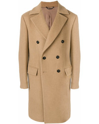 Abrigo largo marrón claro de Versace