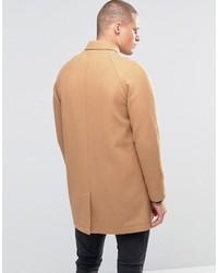 Abrigo largo marrón claro de Asos