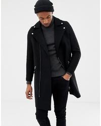 Abrigo largo negro de ASOS DESIGN