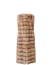Abrigo sin mangas de pelo marrón claro de Liska