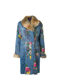 Abrigo vaquero con print de flores azul de Kenzo Vintage