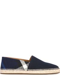 Alpargatas de cuero de tartán azul marino de Burberry