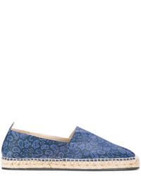 Alpargatas de cuero estampadas azules de Etro
