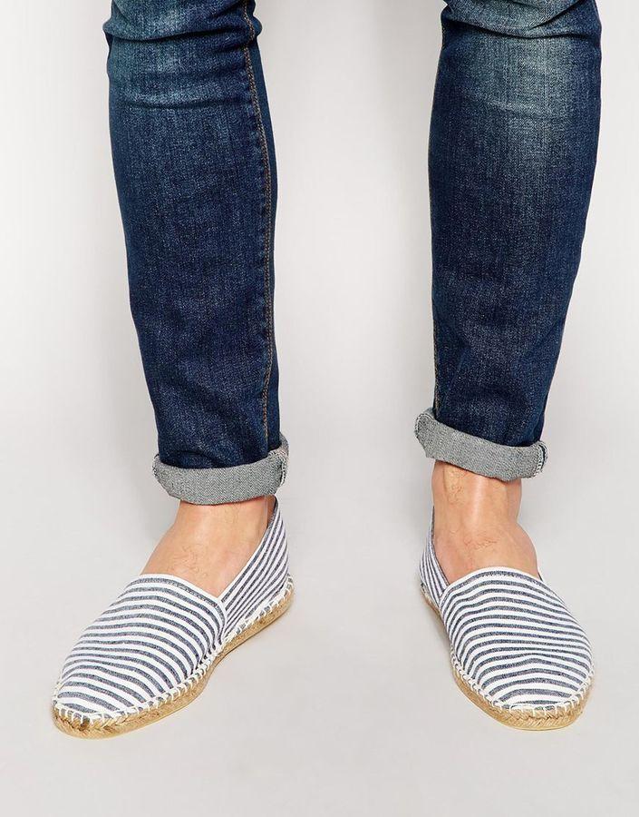 elige lo último nuevo estilo de Calidad superior Alpargatas de lona de rayas horizontales grises de Asos