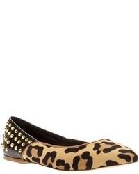 Bailarinas de ante de leopardo marrón claro