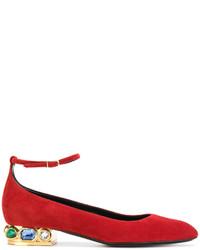 Bailarinas de cuero con adornos rojas de Casadei