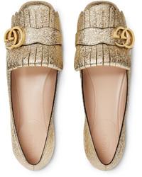 Bailarinas de cuero doradas de Gucci
