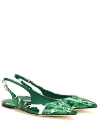 Bailarinas de Cuero Estampadas Verdes de Dolce & Gabbana