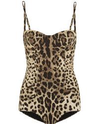 Bañador de leopardo marrón claro de Dolce & Gabbana
