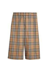 Bermudas de lana a cuadros marrón claro de Burberry