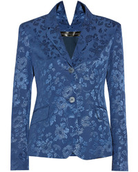 Blazer con print de flores azul