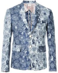 Blazer con print de flores en blanco y azul de Thom Browne